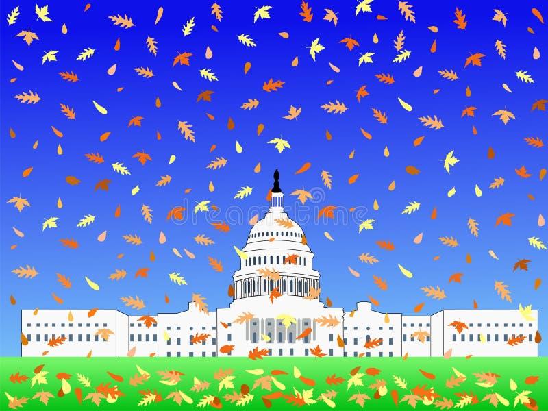 Capitólio dos E.U. no outono ilustração royalty free