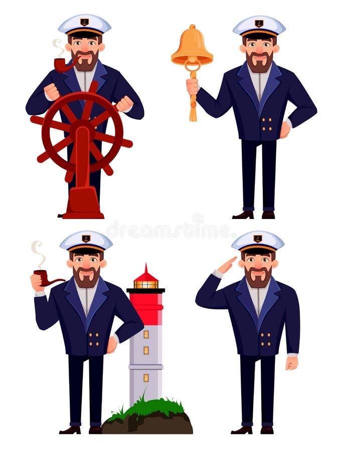 Capit?o do navio no uniforme profissional ilustração royalty free
