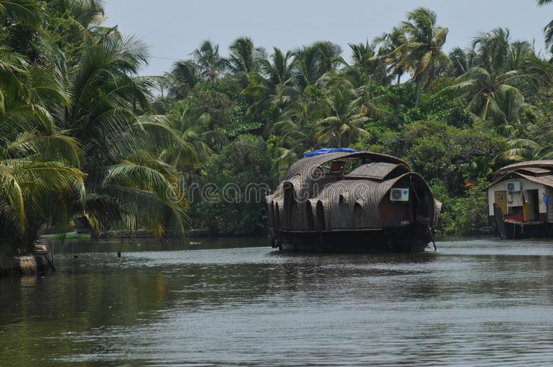 Relaxing Backwater Cruise, Kerala, Soma House Boats | Fluss-S stock photos
