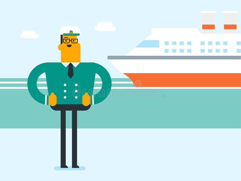 Capitaine de bateau caucasien dans l'uniforme au port illustration stock