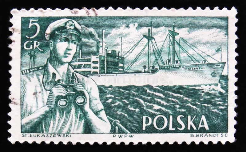 Capitaine de bateau et bateaux polonais, vers 1956 photos stock