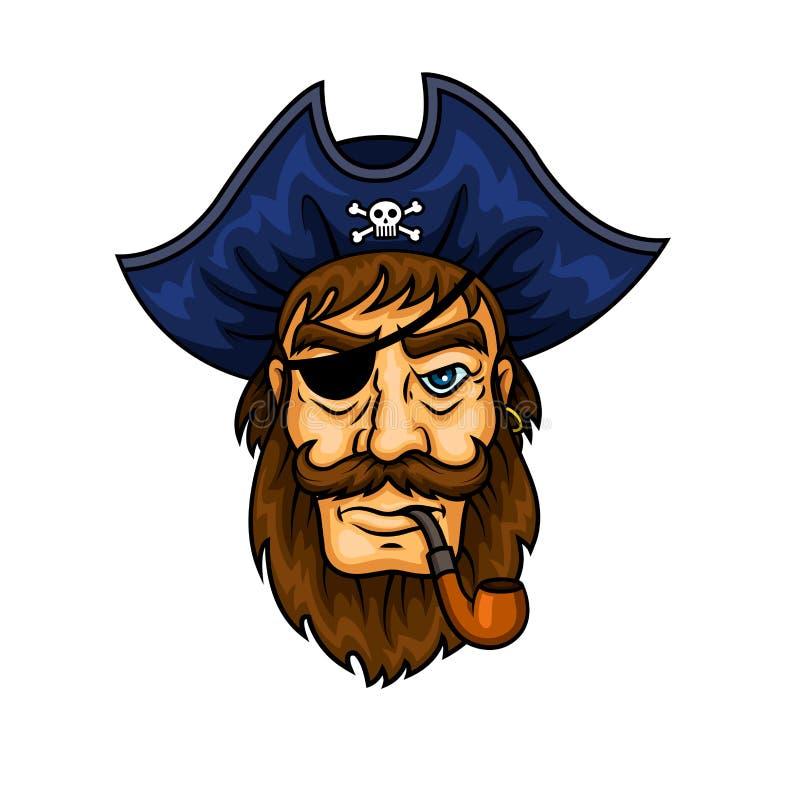 Capitaine de pirate de bande dessinée avec le tuyau de tabagisme illustration stock
