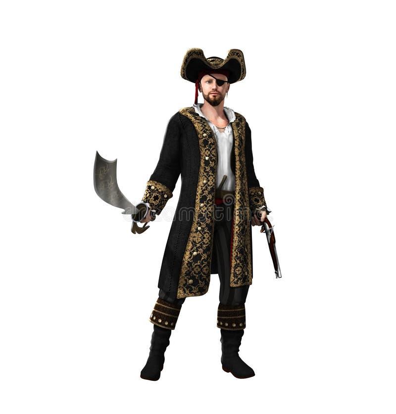 Capitaine de pirate tenant l'épée et le pistolet illustration stock