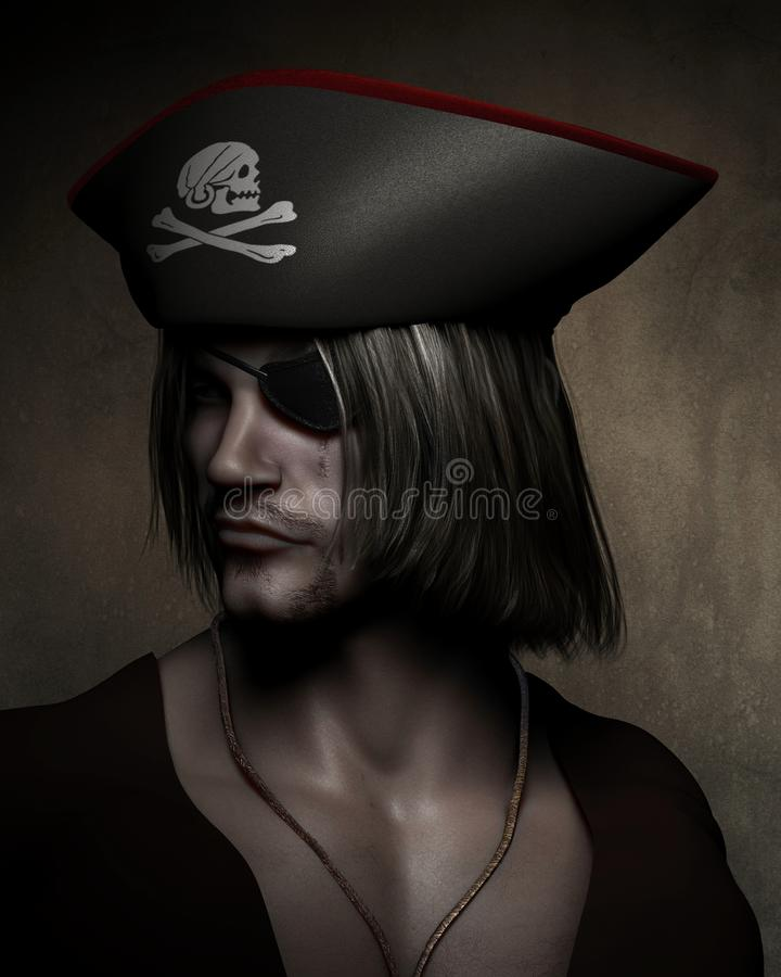 Capitaine Portrait de pirate illustration de vecteur