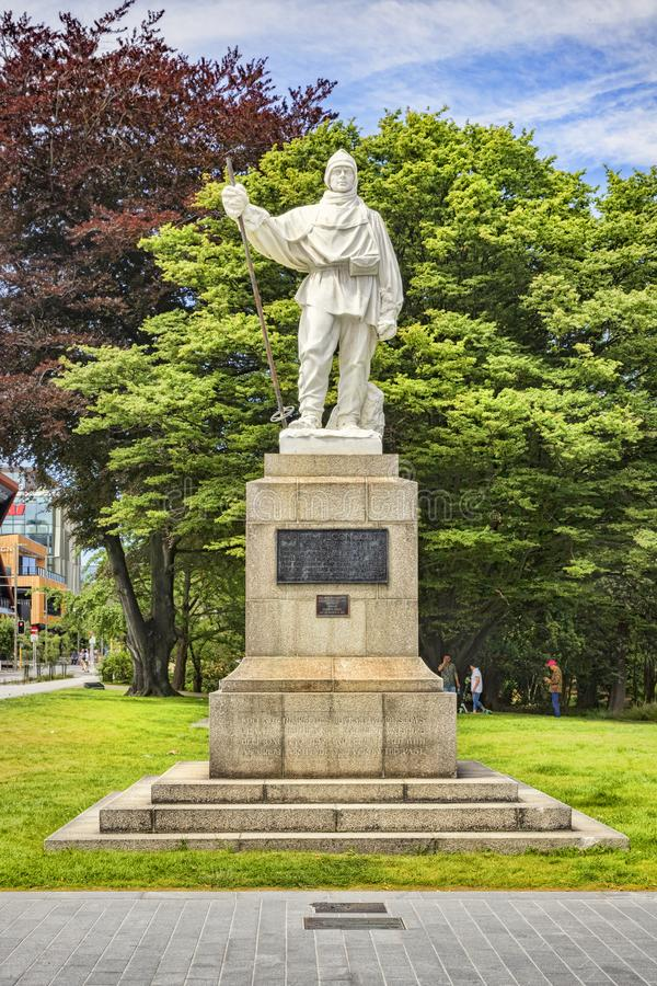 Capitaine Scott Memorial, Christchurch NZ images stock