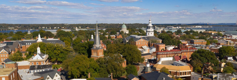 Capital aéreo da casa do estado de Annapolis Maryland da vista panorâmica foto de stock royalty free