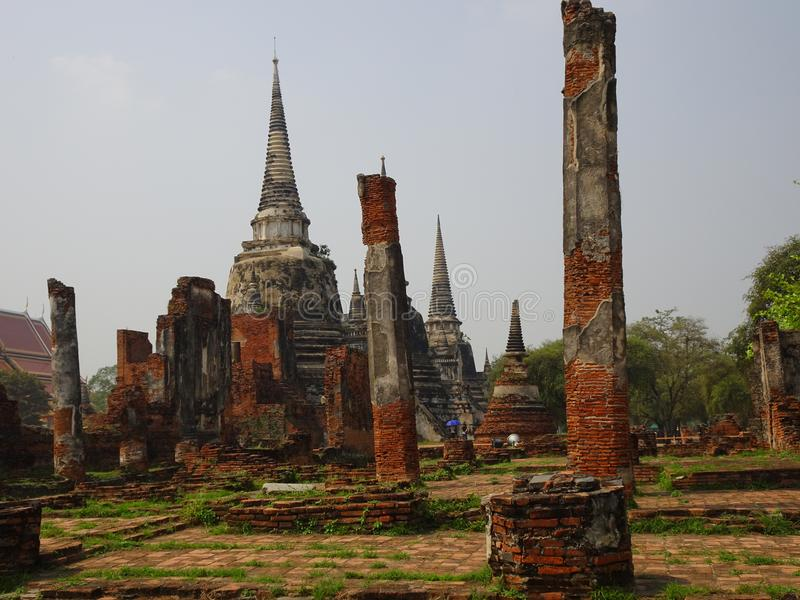 Capital anterior de Ayutthaya do reino de Sião imagens de stock royalty free