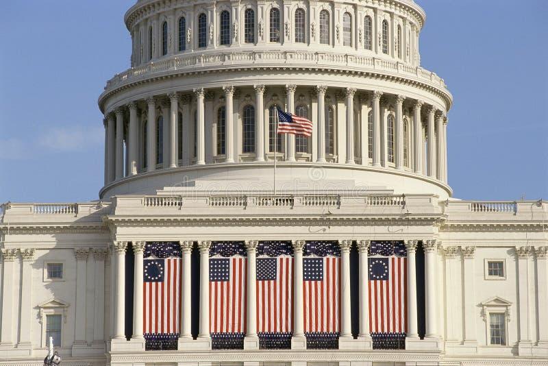 Capital Building. Draped with US flags, Washington, DC royalty free stock photo