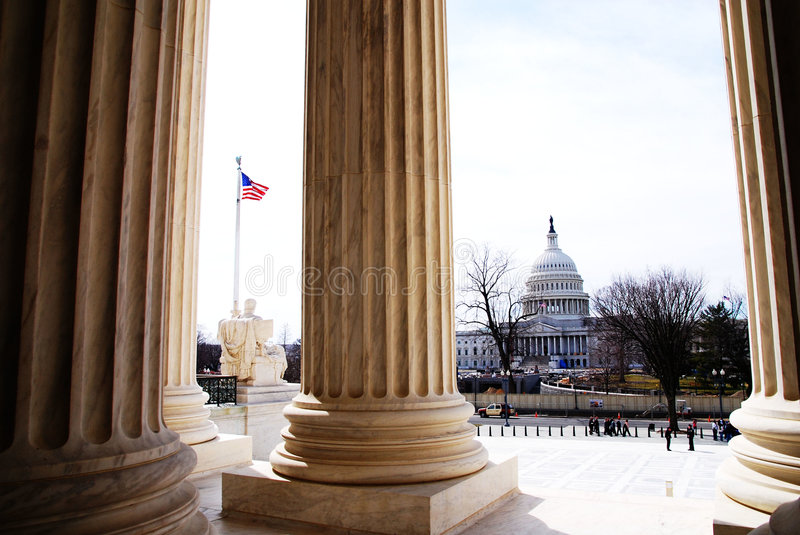 Capital Building. America's Capital Building in Washington D.C. from the steps of the Supreme Court royalty free stock photos