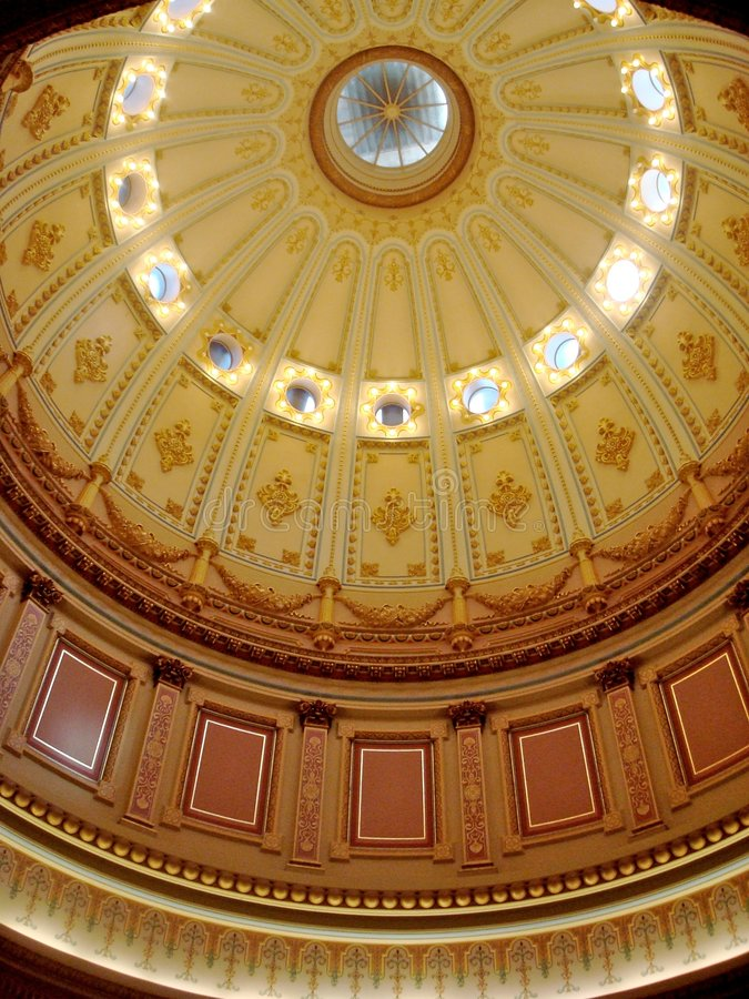 Capital of California Dome. The inner chamber of the Capital building in Sacramento stock images
