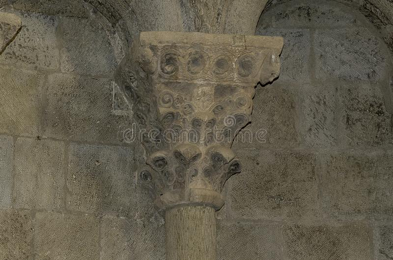 Capital in the castle of Loarre stock photo