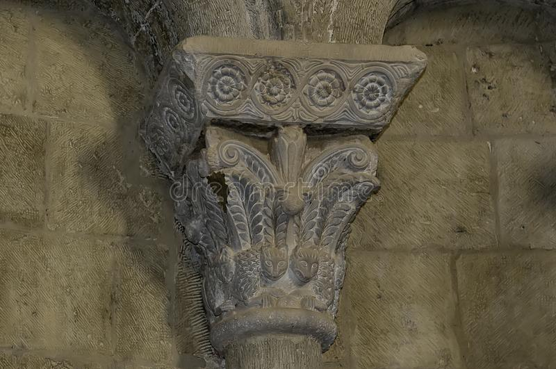 Capital in the castle of Loarre royalty free stock photos