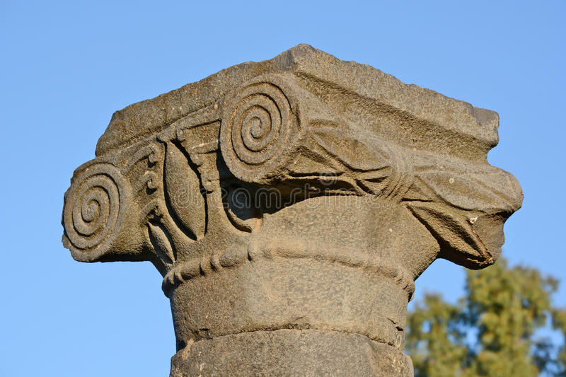 Capital columns. In the archaeological park of Katzrin, Israel stock photo