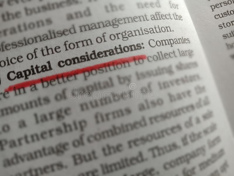 capital considerations words displaying with red colour underline text from royalty free stock images