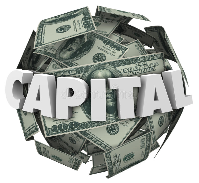Capital 3d Word Loan Funding Financing Money Ball stock illustration