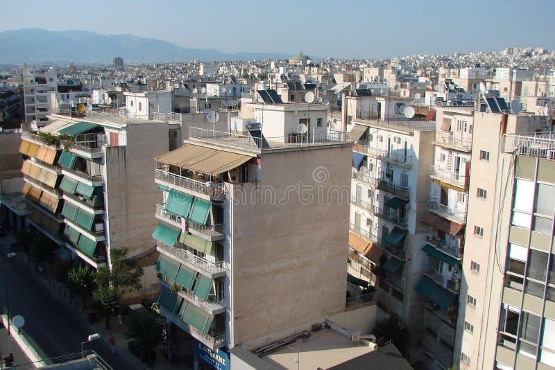 Capital de Atenas Greece 06 16 2014 A paisagem da cidade de Atenas antiga da altura do monte da acrópole imagem de stock