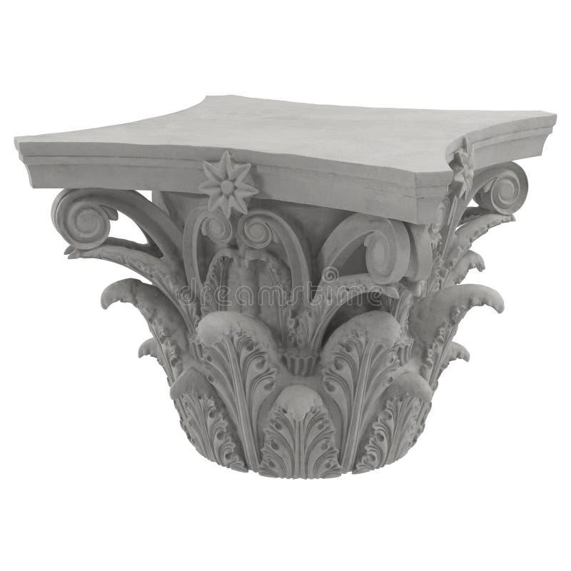Capital de colonne d'ordre corinthien sur le blanc illustration 3D illustration de vecteur