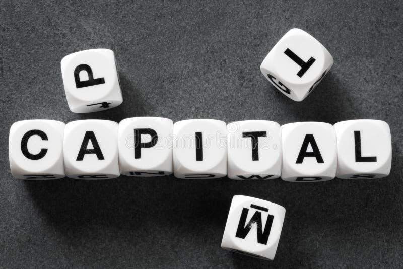 Capital de la palabra en los cubos del juguete imágenes de archivo libres de regalías