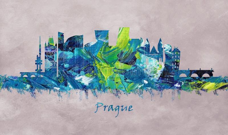 Capital de República Checa, skyline de Praga ilustração royalty free