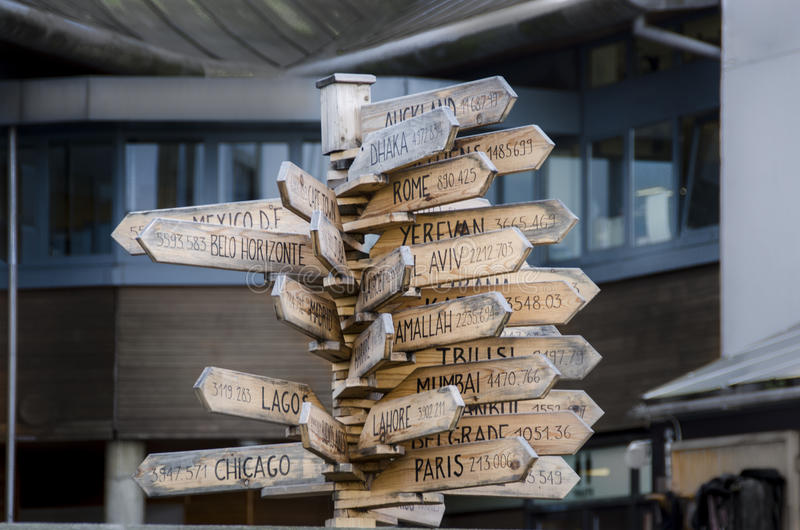 Capital Destinations. Directional sign showing distance to international cities royalty free stock photo