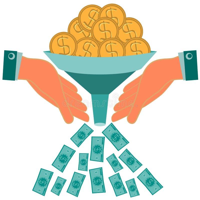 Capital do aumento dos investimentos Moedas de ouro do dólar ilustração royalty free