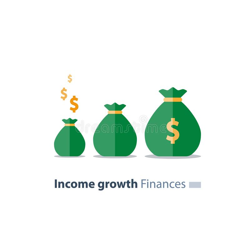 Fundraising concept, future investment, time is money, pension fund, superannuation finance, money bags, vector icon. Capital evaluation, future income growth royalty free illustration