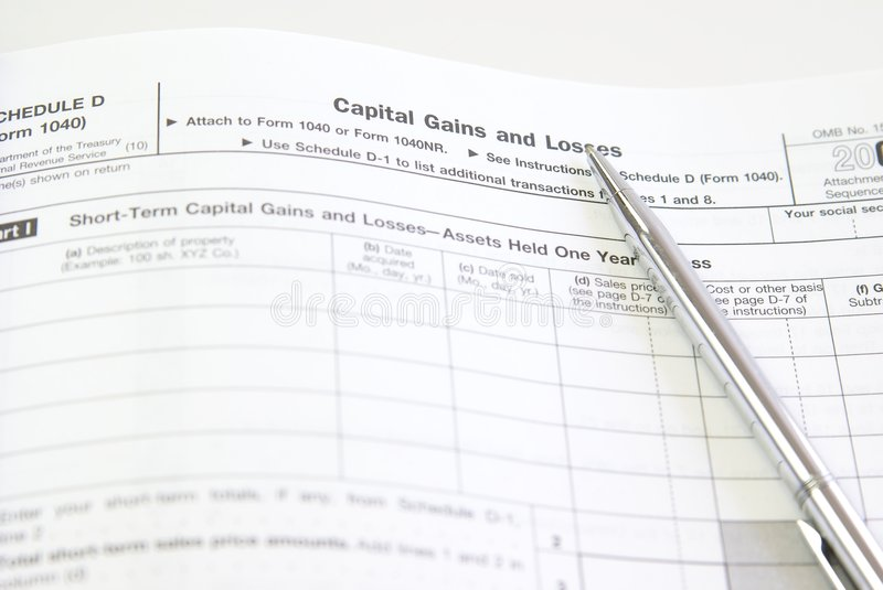 Capital Gains. And losses, schedule D, U.S. tax forms stock images