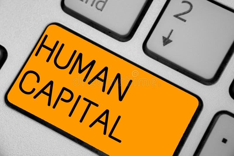 Capital humano do texto da escrita Teclado coletivo da educação do capital da competência dos recursos do valor intangível do sig foto de stock