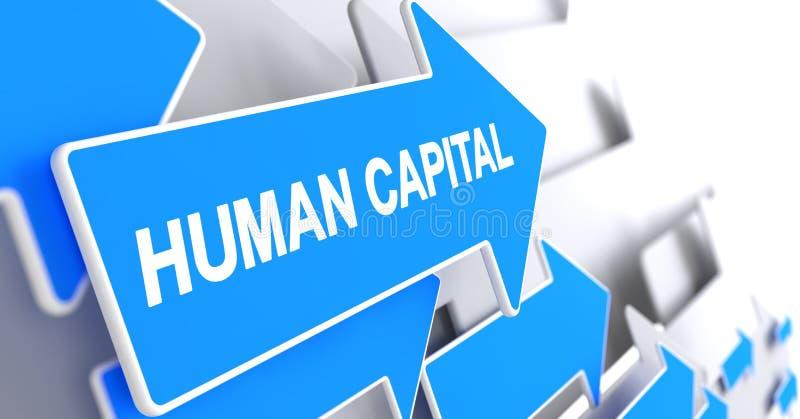 Capital humano - mensagem no ponteiro azul 3d ilustração do vetor