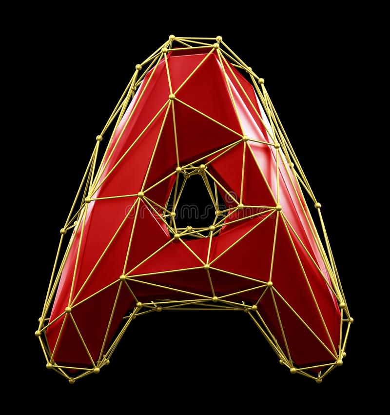Free Capital Latin Letter A In Low Poly Style Red And Gold Color Isolated On Black Background. 3d Stock Images - 139280084