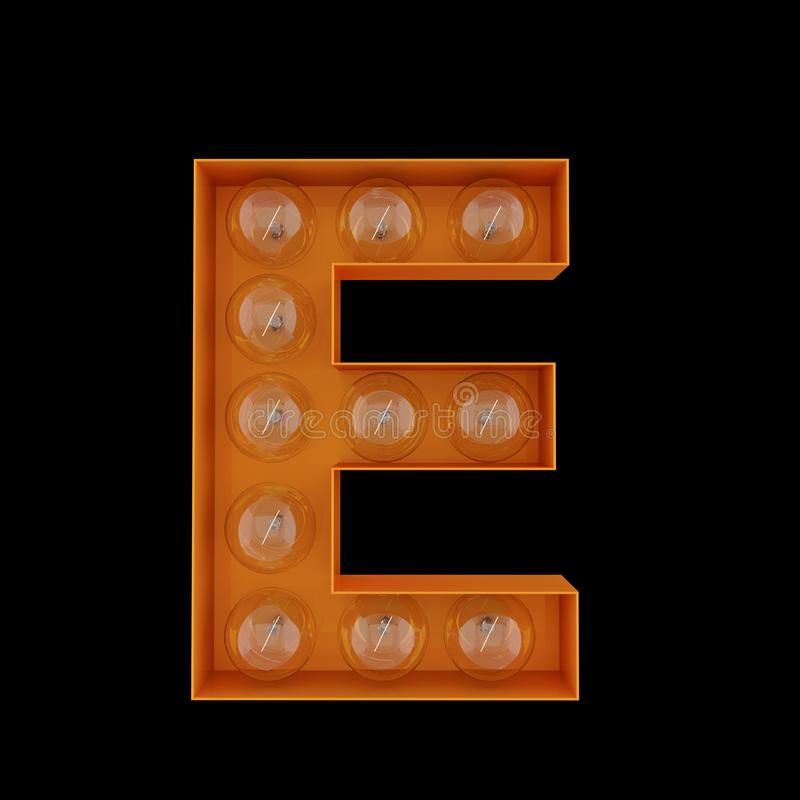 The capital letter E with light bulbs. vector illustration