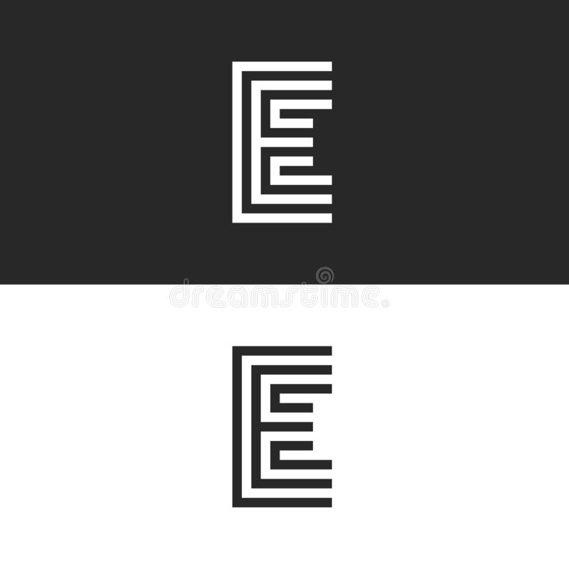 Free Capital Letter E Logo Monogram, Identity Mark Simple Shape For Business Card, Black And White Linear Typography Design Element Royalty Free Stock Images - 141062089
