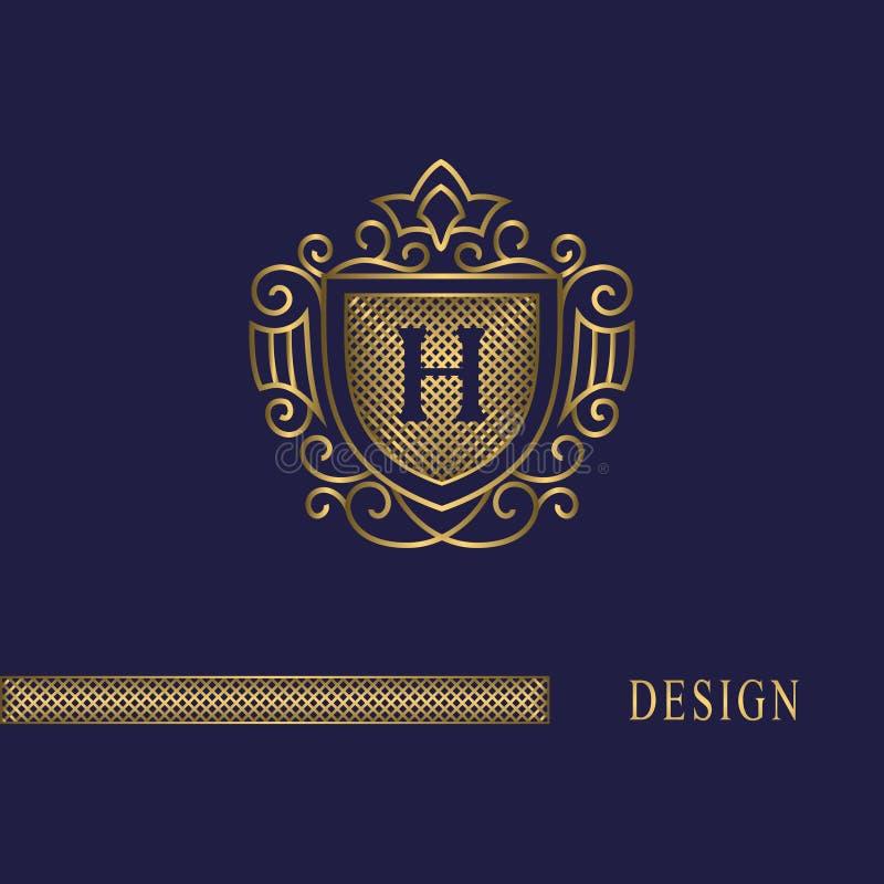 Luxury Letter H Logo: Capital Letter H . Golden Monogram. Elegant Logo