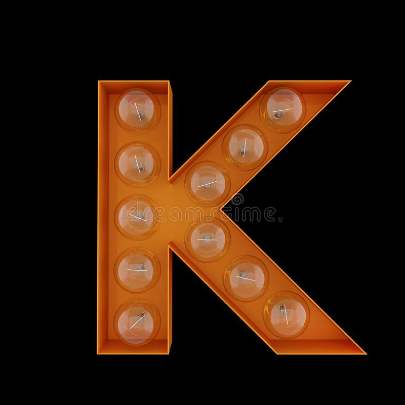 The capital letter K with light bulbs. royalty free illustration