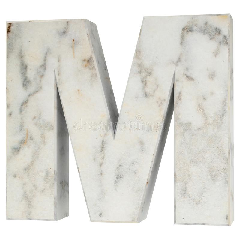 The Capital Letter - M from stone. 3D Render Illustration. royalty free illustration