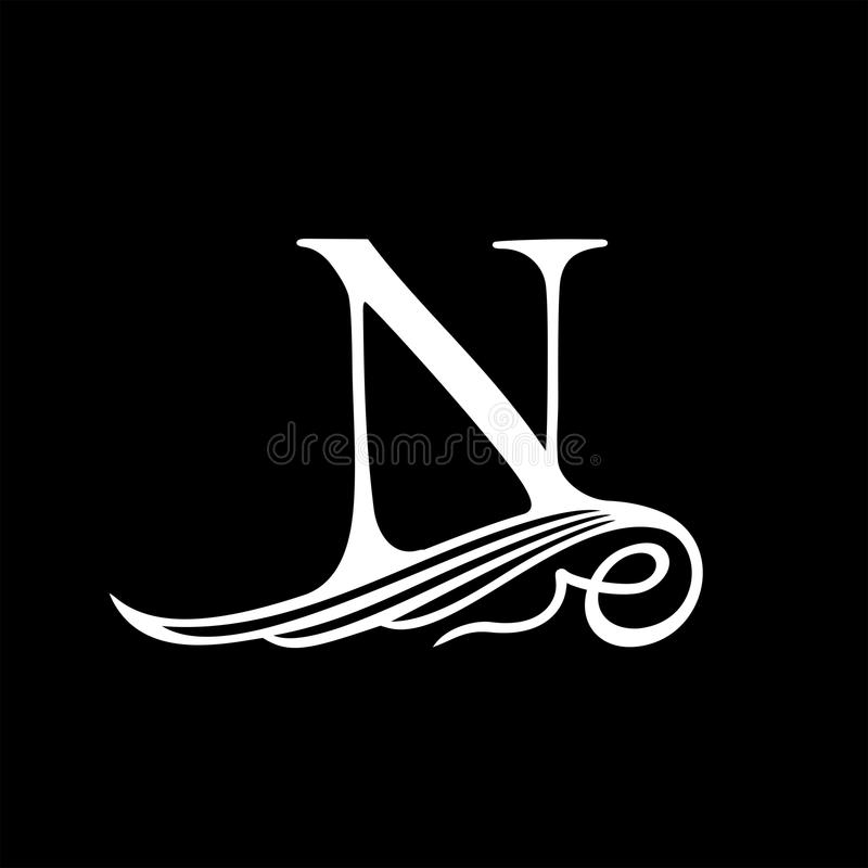 Capital Letter N for Monograms, Emblems and Logos. Beautiful Filigree Font. Is at Conceptual wing or waves royalty free illustration