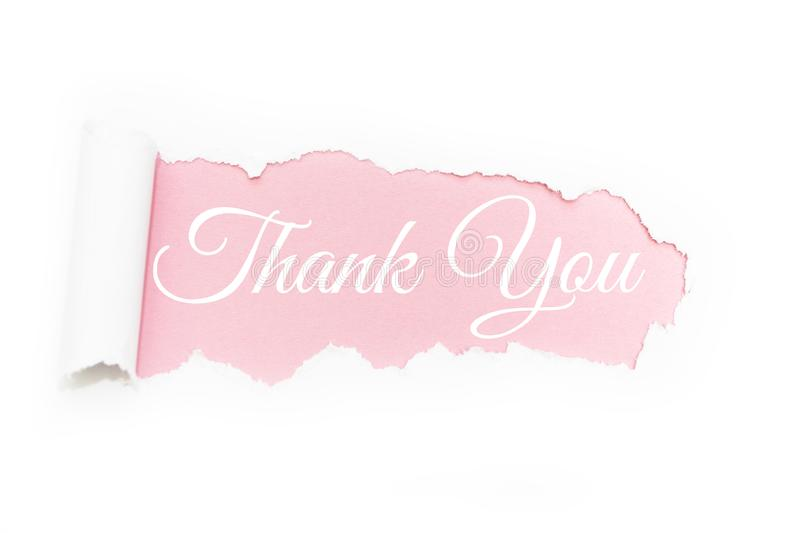 A capital letter of thanks in the rupture of paper on a pink background stock illustration