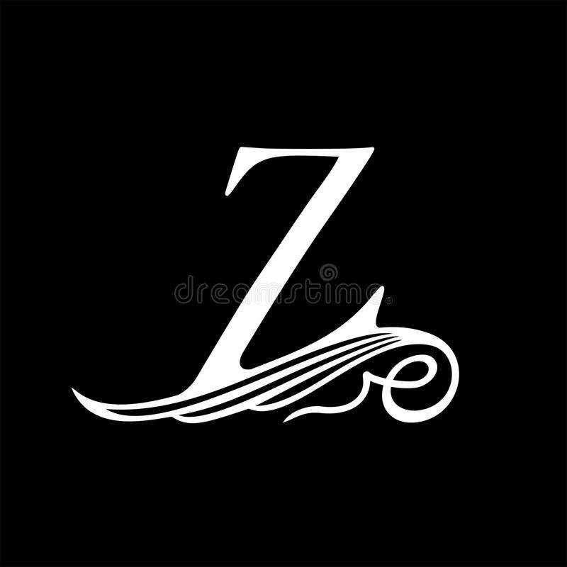 Capital Letter Z for Monograms, Emblems and Logos. Beautiful Filigree Font. Is at Conceptual wing or waves stock illustration