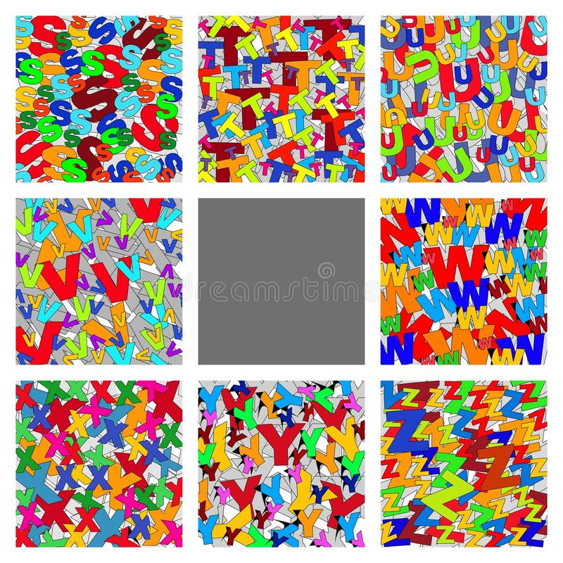Capital Letters backgrounds. Collage of colorated capital letters backgrounds S T U V W X Y Z stock illustration