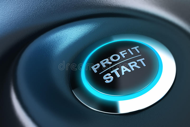 Capital management, profit and investment. Profit button with blue light. 3D render over blue and black background suitable for capital management solution