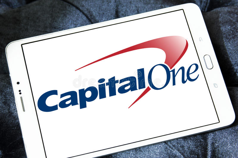 Capital one bank logo. Logo of capital one bank on samsung tablet stock photos