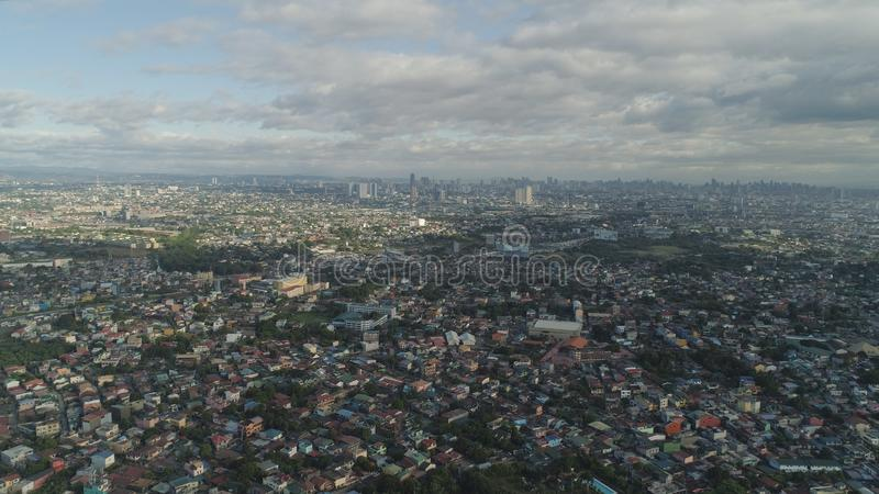 Capital of the Philippines is Manila. Aerial view of Manila city with skyscrapers and buildings. Philippines, Luzon. Aerial skyline of Manila royalty free stock photos