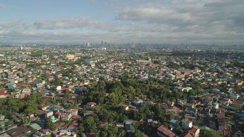 Capital of the Philippines is Manila. Aerial view of Manila city with skyscrapers and buildings. Philippines, Luzon. Aerial skyline of Manila royalty free stock image