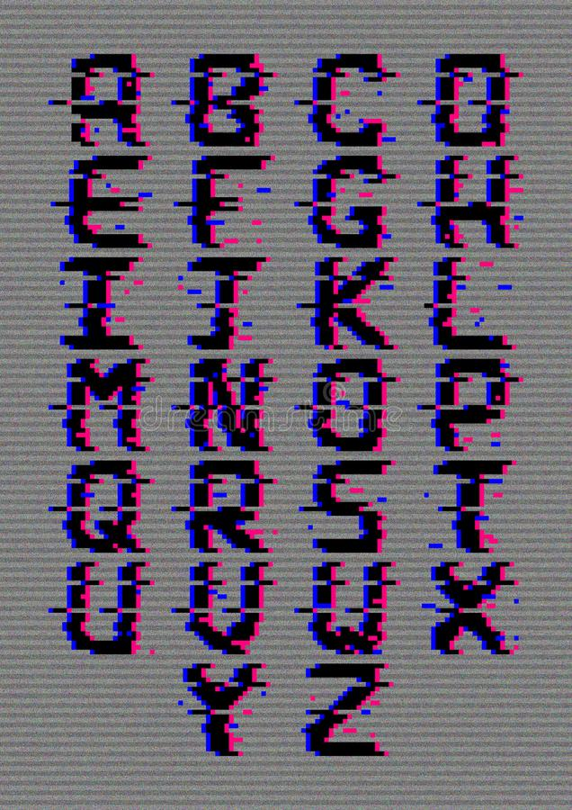 Capital pixel glitch letters. Capital pixel glitch style letters on a grey background, each letter in on a different layer in Ai format royalty free illustration