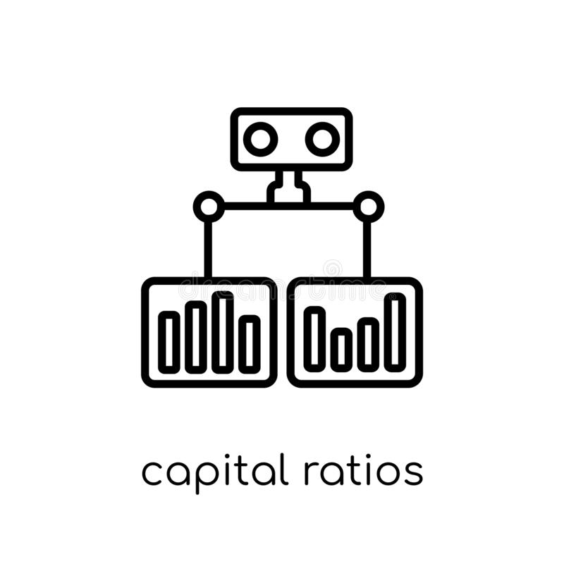 Capital ratios - Tier 1 and Tier 2 icon from Capital ratios Tier. Capital ratios - tier 1 and tier 2 icon. Trendy modern flat linear vector capital ratios - tier stock illustration
