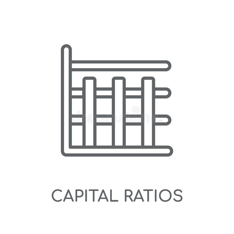 Capital ratios - Tier 1 and Tier 2 linear icon. Modern outline C. Apital ratios - Tier 1 and Tier 2 logo concept on white background from business collection stock illustration