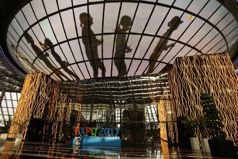 Capital representativa do distrito da expo da exposição das construções de Astana de kazakhstan imagens de stock royalty free