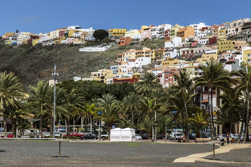 Capital San Sebastian the La Gomera, spotted from the black beach stock images