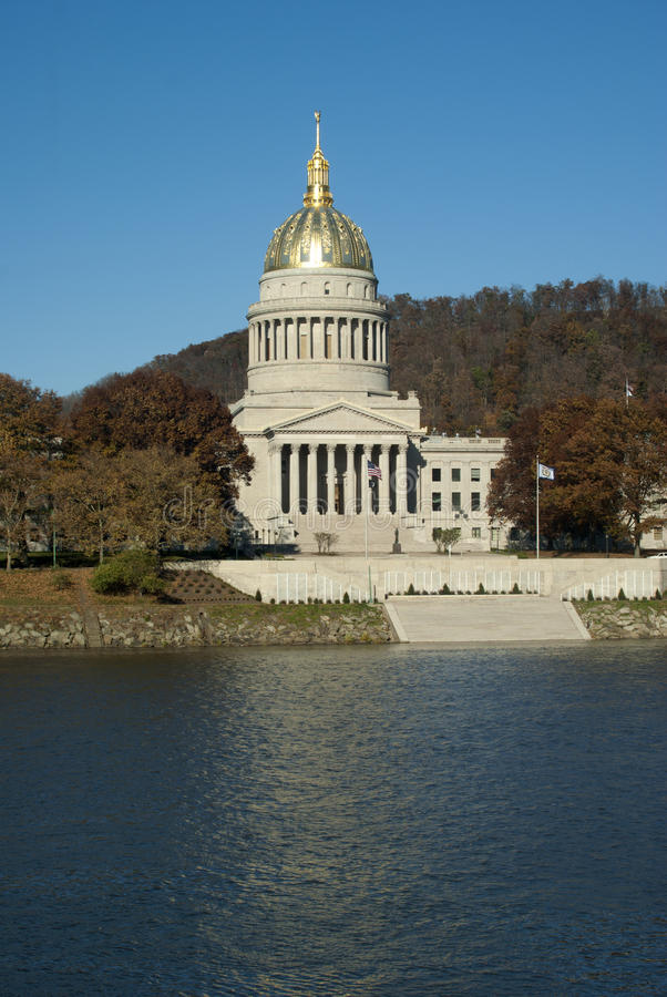 Capital of West Virginia in Charleston. On the Kanawha River. Architectural style: Colonial Revival, Italian Renaissance Copy Space stock photography