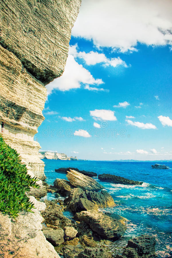 Capitale de Bonifacio - de Picturesque de la Corse, France photos stock